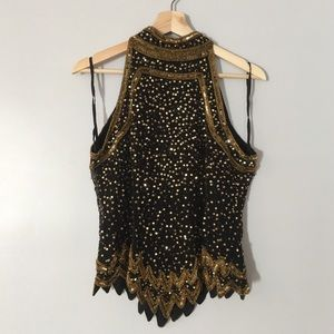 Vintage Sequin Beaded Halter Top Party Holiday